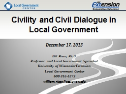 Civility and Civil Dialogue in Local Government