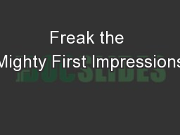 Freak the Mighty First Impressions