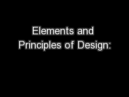 Elements and Principles of Design: