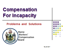Compensation For Incapacity