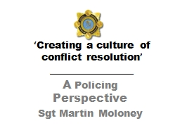 ' Creating a culture of conflict resolution