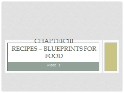 Week 5 Chapter 10 Recipes – Blueprints for food