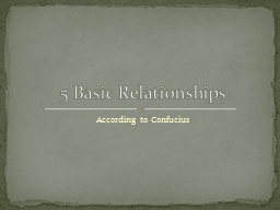 According to Confucius 5 Basic Relationships