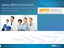 Using ANCC Credentials Help