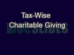 Tax-Wise Charitable Giving