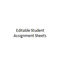 Editable Student Assignment Sheets