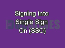 Signing into Single Sign On (SSO)