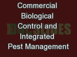 Commercial Biological Control and Integrated Pest Management