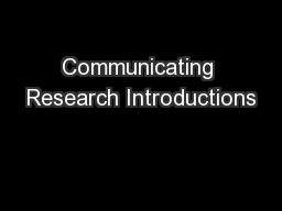 Communicating Research Introductions