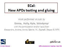 ECal : New  APDs   testing PowerPoint PPT Presentation