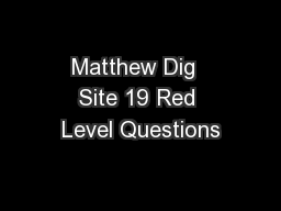 Matthew Dig  Site 19 Red Level Questions