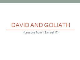 David and Goliath (Lessons from 1 Samuel 17)