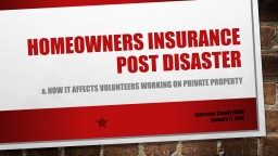 Homeowners Insurance post disaster