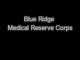 Blue Ridge Medical Reserve Corps