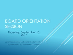 Board Orientation Session