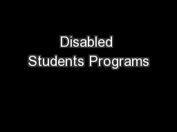 Disabled Students Programs