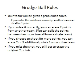 Grudge-Ball Rules Your team will be given a problem to solve.