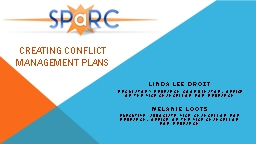 Creating Conflict  Management Plans