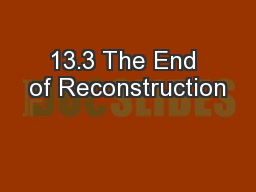 13.3 The End of Reconstruction