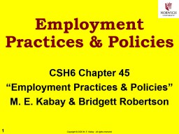 Employment Practices & Policies