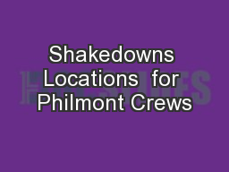 Shakedowns Locations  for Philmont Crews