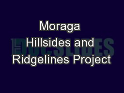 Moraga Hillsides and Ridgelines Project