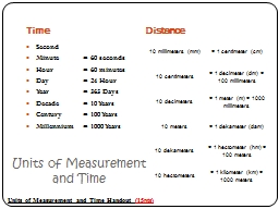 Units of Measurement and Time