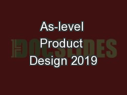As-level Product Design 2019