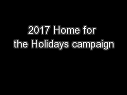 2017 Home for the Holidays campaign