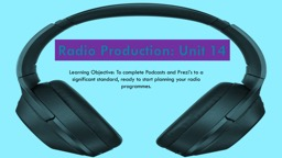 Learning Objective: To complete Podcasts and Prezi's to a significant standard, ready to start pl