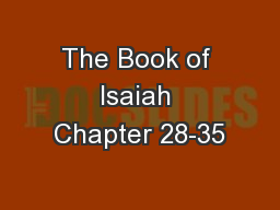 The Book of Isaiah Chapter 28-35
