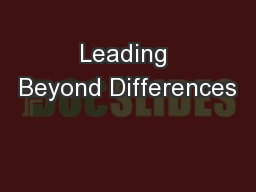 Leading Beyond Differences PowerPoint PPT Presentation