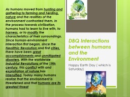 DBQ Interactions between humans and the Environment