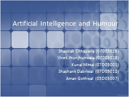 Artificial Intelligence and Humour