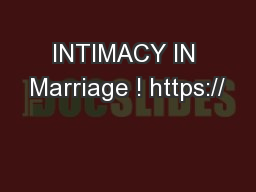 INTIMACY IN Marriage ! https://