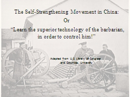 The Self-Strengthening Movement in China: