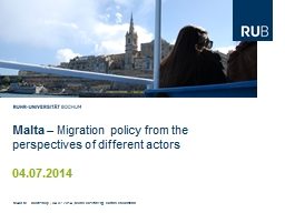 Malta  � Migration policy from the perspectives of different actors