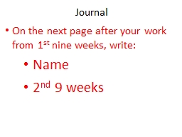 Journal On the next page after your work from 1