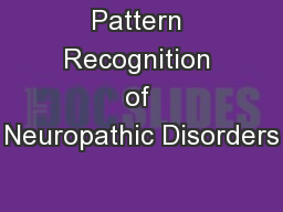 Pattern Recognition of Neuropathic Disorders