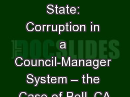 Predator State: Corruption in a Council-Manager System � the Case of Bell, CA