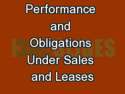 Chapter 23 Performance and Obligations Under Sales and Leases