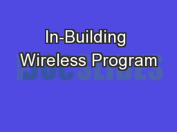 In-Building Wireless Program PowerPoint PPT Presentation