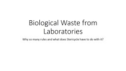 Biological Waste from Laboratories