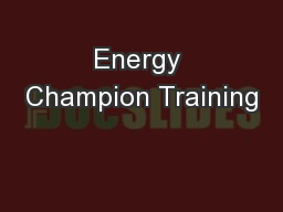 Energy Champion Training