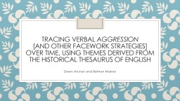 Tracing verbal  aggression
