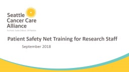 Patient Safety Net Training for Research Staff