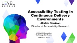 Accessibility Testing in Continuous Delivery Environments