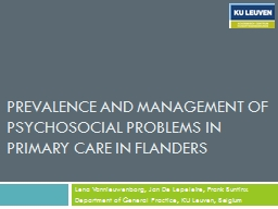Prevalence and management of psychosocial problems in primary care in Flanders