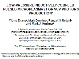 LOW-PRESSURE INDUCTIVELY COUPLED PULSED MICROPLASMAS FOR VUV PHOTONS PRODUCTION*