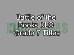 Battle of the Books KLO Grade 7 Titles